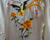 White Silk Robe with Asian Inspired Bird and Flower Sewn Design