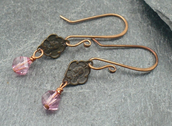Earrings: Bronze Jesus and Mary medal with Swarovski Crystal and Handmaid Bronze Ear Wire