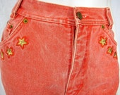 Vintage 1980s Escada Red Vermilion Jeans with Stars & Anchor XS / S