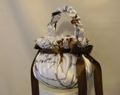 Flower Girl Basket Camo custom made to order shown in Snow white camo also available in Pink Camo and other camo fabrics