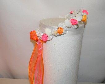 Wedding Flower Girl Halo wreath bridesmaid head piece any color combination shown white hot pink orange beach shells