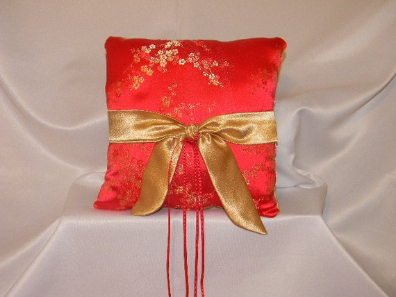 Wedding Ring Bearer Pillow Asian Red Gold Blossom custom made any color theme