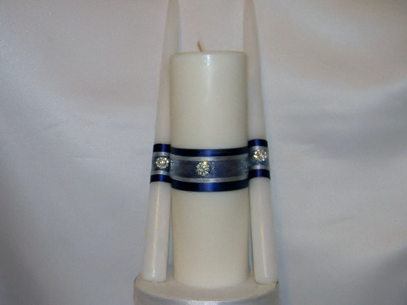 Unity Candle set decorated any color or theme such as fall, beach, Asian, Rhinestone, winter or other