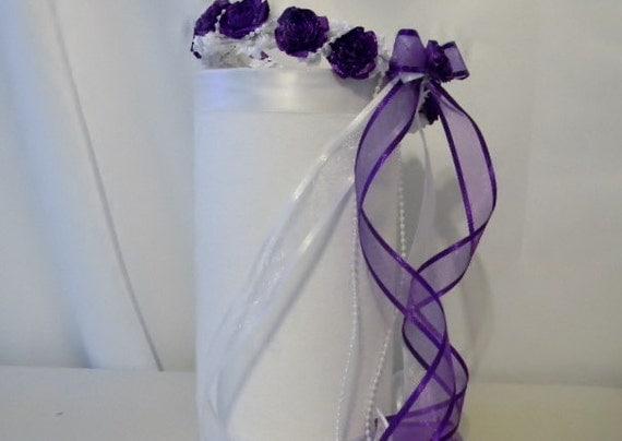 Wedding Flower Girl Halo Wreath Bridesmaid Head Piece Purple White