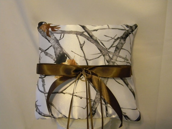 Wedding Ring Bearer Pillow custom made camo shown in White snow camo also pink camo and other camo fabrics available