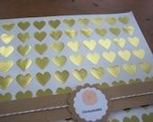 "Gold Foil Sticker, Gold Heart Stickers - Set of 108, 3/4"" x 3/4"""