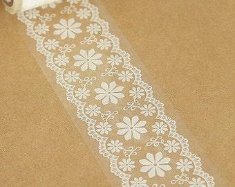 Transparent Wide Lace Deco Tape Pattern No. 7 - 4.8cm x 15m (49 ft)