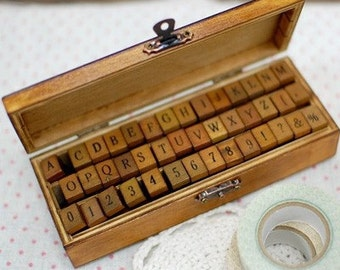 Vintage Style Alphabet  and Number Wood Mounted Rubber Stamps Set