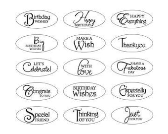 Birthday, Thank You, Friendship, Celebrate Mixed Phrases Gold and Silver Die Cut Oval Sentiment By Craftworkcards