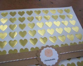 "Gold Foil Sticker, Gold Heart Stickers - Set of 108, 3/4"" x 3/4"""
