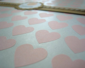 "108 Pink Heart Stickers, Custom Stickers - 3/4"" x 3/4"""