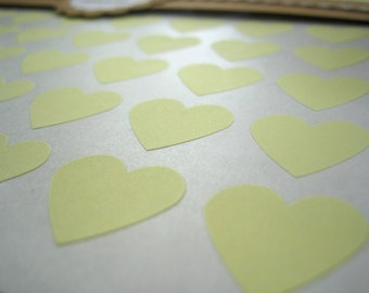 "Pastel Yellow Heart Stickers, Custom Stickers - Set of 108, 3/4"" x 3/4"""