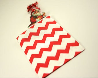 """Small Red Chevron Favor Bags, Red Chevron Gift Bag, 2.75"""" x 4"""", Set of 20"""