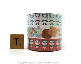 Kawaii Cute Panda Bears and Sweets Deco Tape Set of 3 by Prime Nakamura