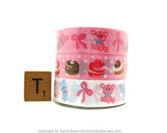 Teddy Bears and Macaroons Kawaii Tape Set of 3 by Prime Nakamura