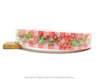 Salmon Pink Flowers and Berries Tape - 1.5cm x 25m (82 ft)