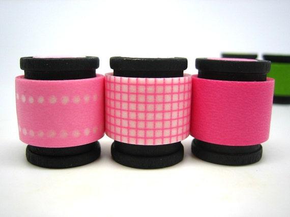 Japanese Washi Masking Tape Trio -  Pink Cotton Candy (5 feet each, 15 feet total)