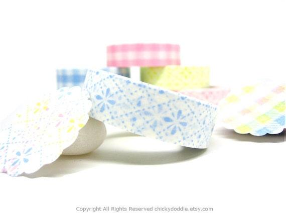 Blue Flower Stitch Pattern Japanese Washi Masking Tape 15mm x 15m