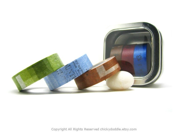 Green, Blue, and Nut Brown Collage Japanese Washi Tapes Set (15mm)