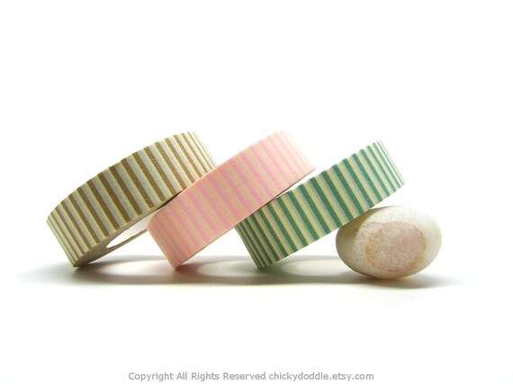 Brown, Pink, and Green Stripes Japanese Washi Tapes Set (15mm)