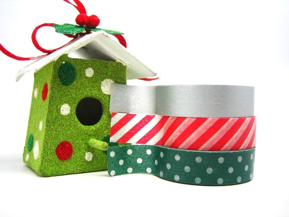 Christmas Gift Wrap Tapes Set of 3 Japanese Washi Tapes in Pine Green Polka Dots, Candy Cane Stripes, Solid Silver