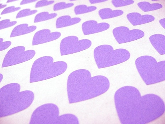 """Purple Mini Heart Stickers - Set of 108, 0.75"""" x 0.75"""""""