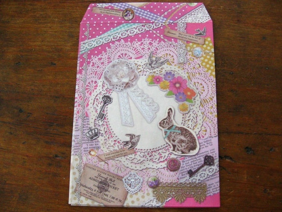 Doilies and Rabbit Collage Gift Bags or Favor Bags with Stickers (Set of 5)