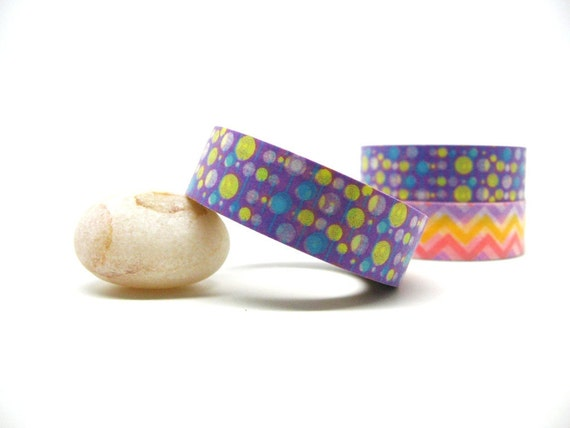 Blue and Lime Green Bubbles on Purple Washi Tape 15mm x 10m