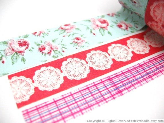 Shabby Roses, Doilies, Grids Washi Tape Set of 3