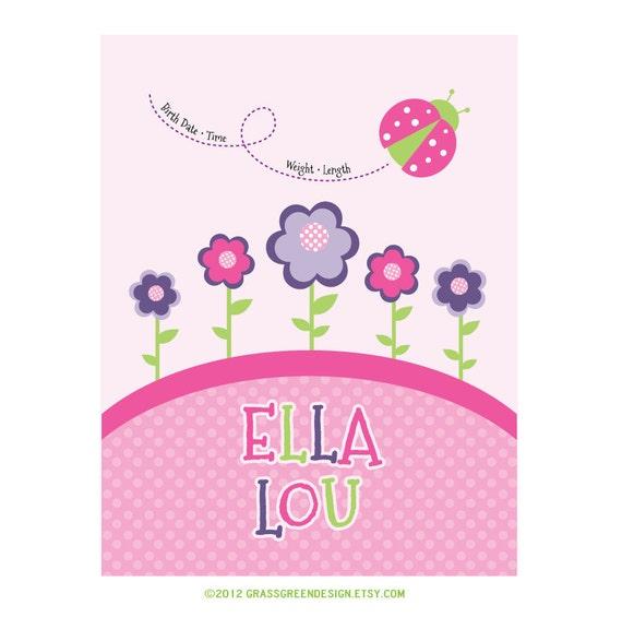 Custom Name Baby Girl Nursery Print 8x10