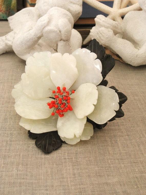 40% off Entire Shop - Large Vintage Milky Quartz Flower- Millinery/ Bridal Flowers
