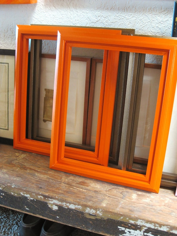 40% off Entire Shop - Pair of Cottage Orange Wooden Frames- Frames/ Mirrors