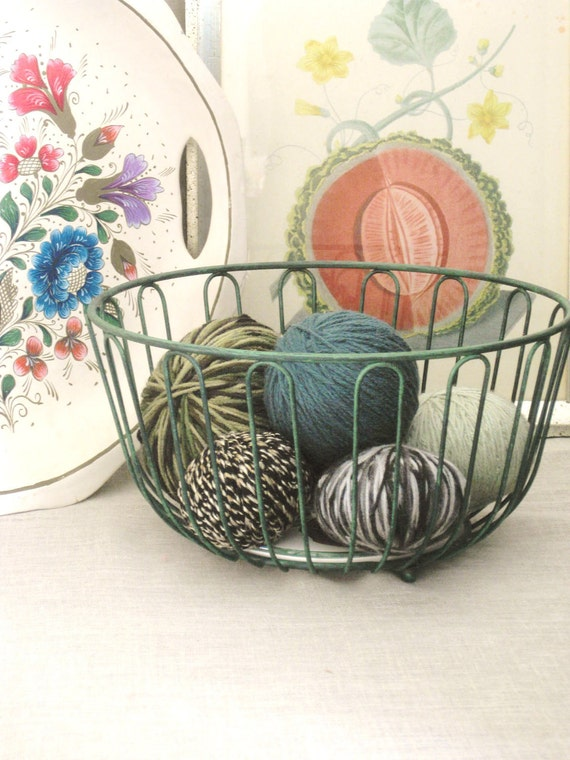 40% off Entire Shop - Vintage Green Wire Basket Filled with Yarn Balls- Sewing/ Fabric/ Buttons
