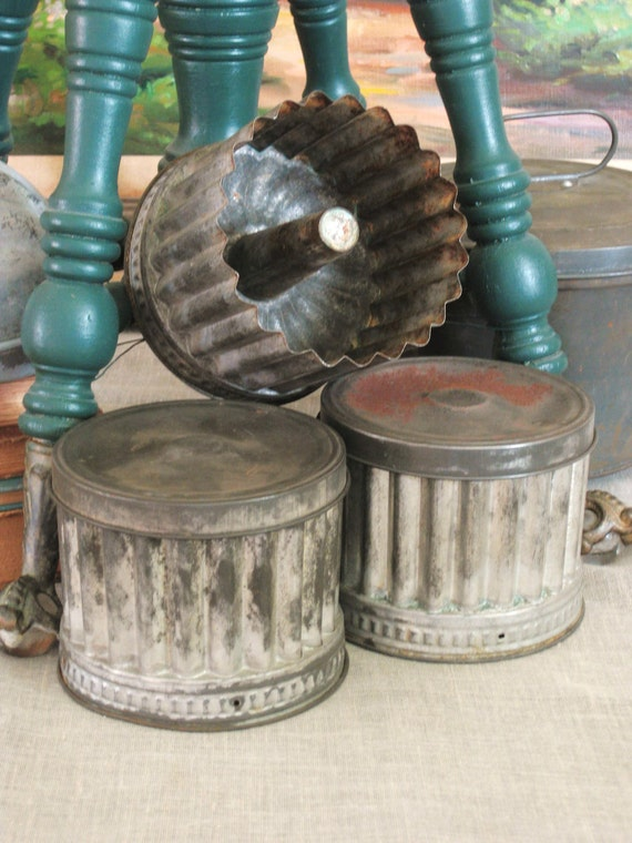 Antique Portugal Tin Molds - Odd Bits / Assemblage