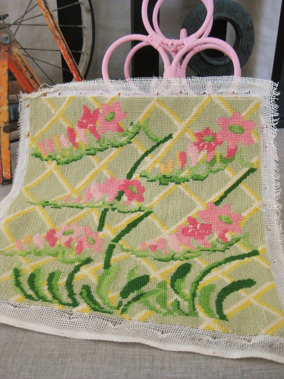 Vintage Needle Point Pillow Cover Top - Sewing / Fabrics / Buttons