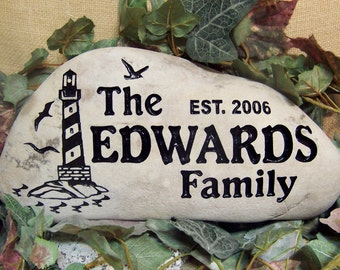 Engraved ROCK Welcome STONE for Porch, Garden, Entry,