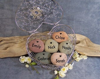 6 Engraved HEART STONES in a Wire Heart Basket