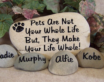 Engraved Pet Memorial Stone with Name Stones