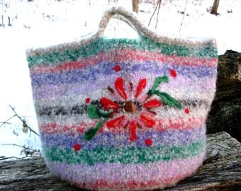 Large Knit and Felted Wool Striped Project Bag with needle felted designs on both sides.