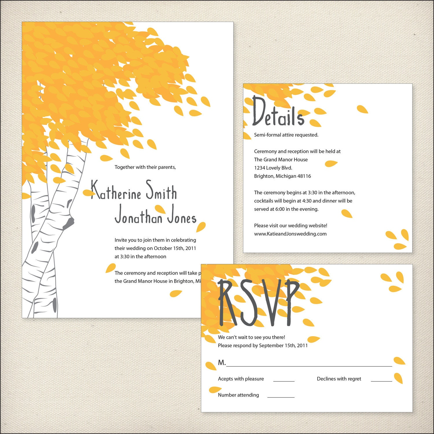 Invitation Packages Wedding: Items Similar To Birch Wedding Invitation Package On Etsy
