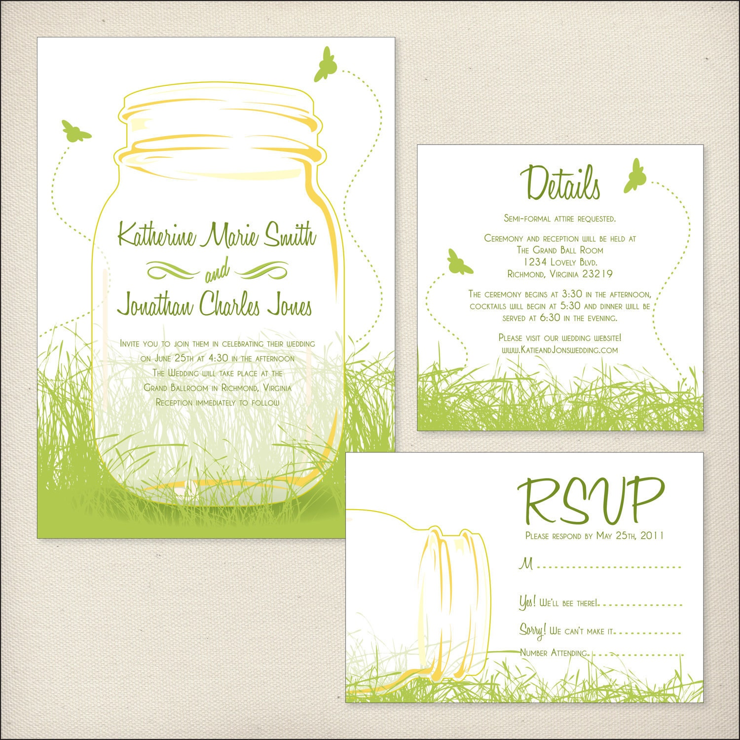 Mason Jars Wedding Invitation Package by DreamTreeDesign ...