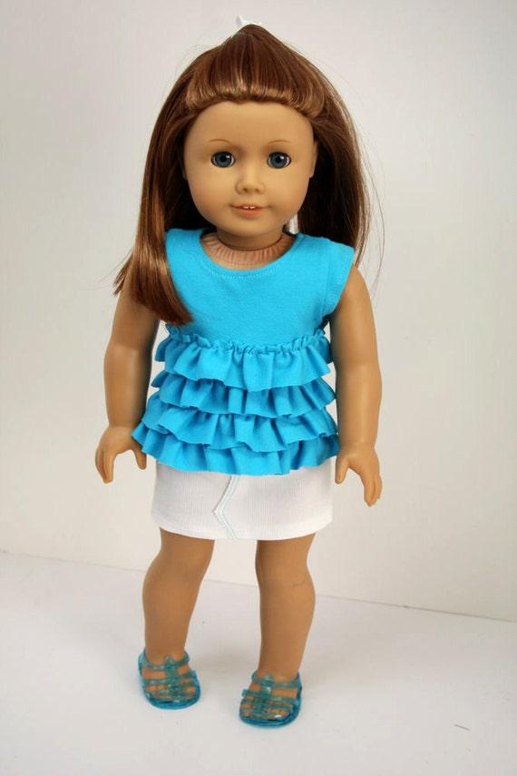 American Girl Doll Clothes-Ruffled Shirt and Mini Skirt