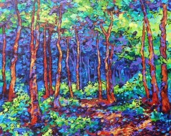 Forest Park , Original Landscape, Acrylic Paintings, Blue, Green, Woods, Sara Larson