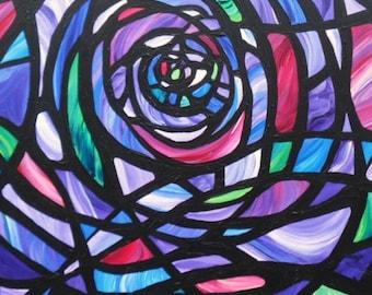 AMETHYST GLASS - Original Acrylic Stained Glass Window Painting - by Sara Larson Art