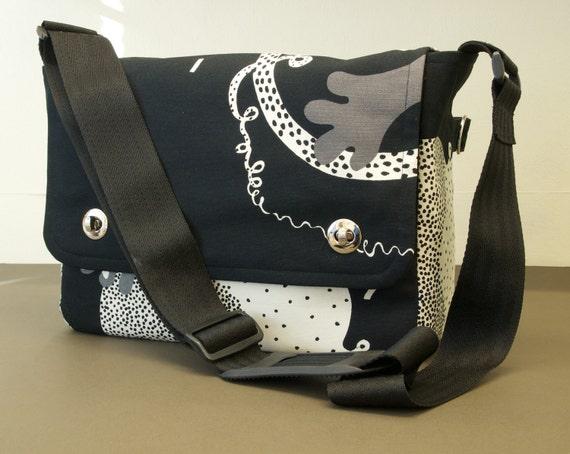 Messenger Bag with shoulder strap - fabric satchel for Tablet, Camera, eReader, Laptop