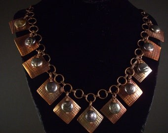 Coin pearls and textured copper necklace