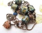 Glass bead bracelet,  Lampwork bead bracelet, copper bracelet with charms - FJORD