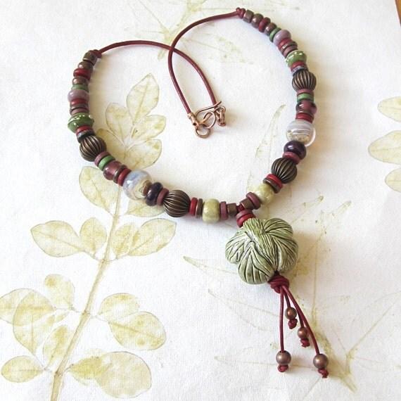 Ceramic bead necklace, beaded necklace, ceramic pendant, ceramic and lampwork necklace