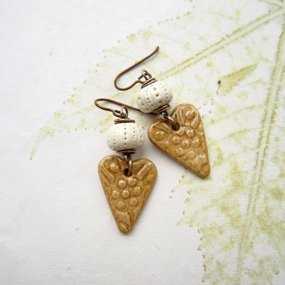 Ceramic earrings, heart earrings, urchin earrings - SANDY SHORES
