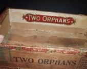 Two orphans cigar box vintage advertisement man cave 5 cent